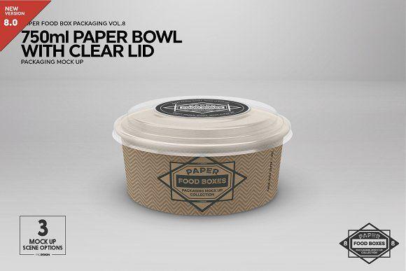 Download 750ml Paper Bowl Clear Lid Mockup Paper Bowls Food Box Packaging Mockup