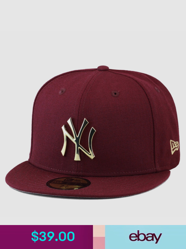 New Era 59fifty New York Yankees Fitted Hat Cap Maroon Gold Metal Badge Fitted Hats Hats For Men Hats
