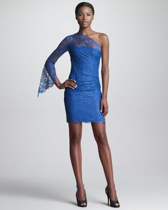 Emilio Pucci One Shoulder Lace Sheath Dress Blue Lace