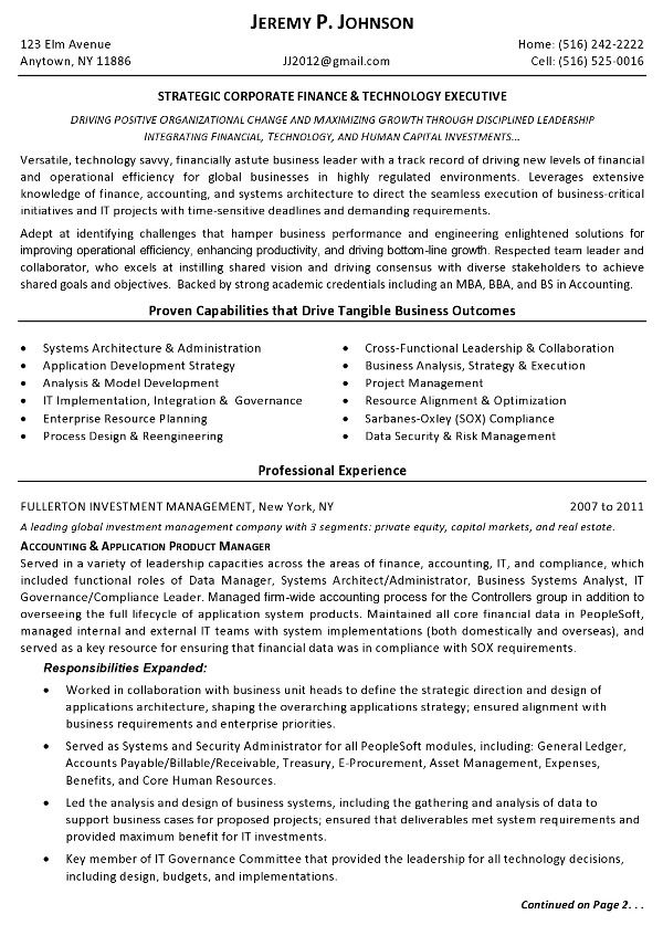 Resume Sample, Finance Tech Executive Page 1-Resume for someone - finance student resume