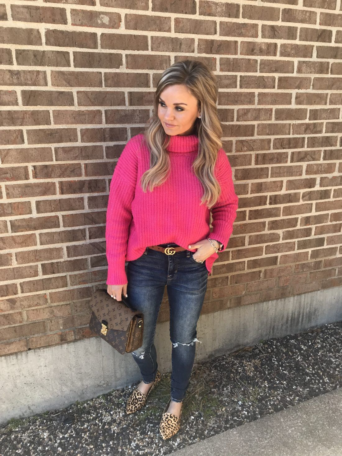68f69e0f81 Casual outfit for transitioning to spring. Hot Pink Sweater with high  waisted jeans and leopard flats.