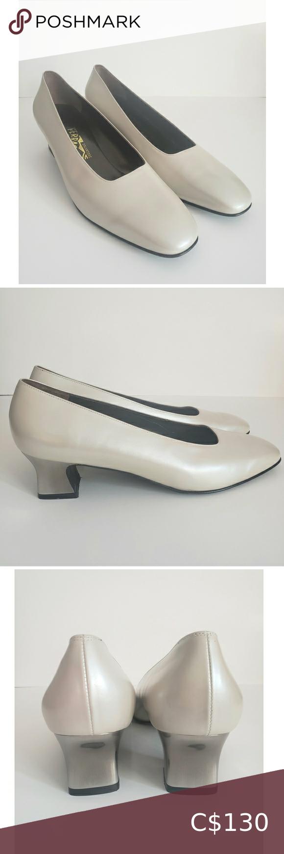 Salvatore Ferragamo Beige Leather Tassel Heels Pumps