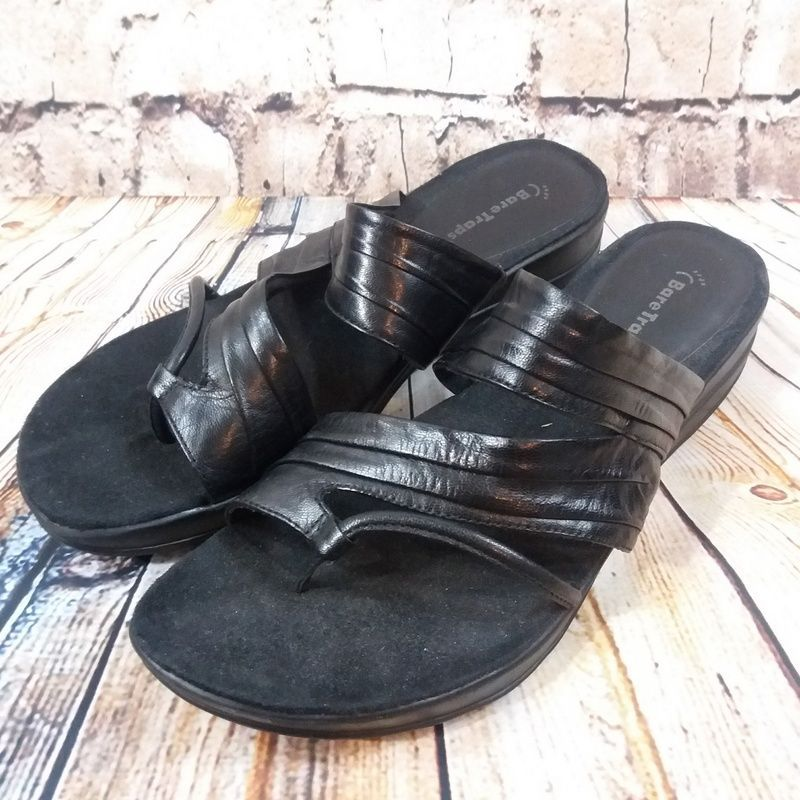 b0fdfa41f9 Women's Bare Traps Joellen Sandals Slides Size 10 Black Leather Shoes  #BareTraps #Slides #Casual