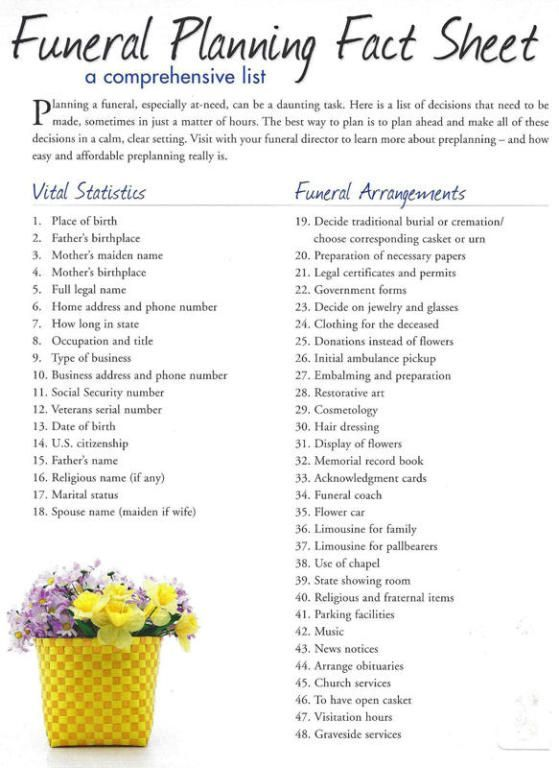 Http Www Phillipsfuneral Org Funeral Checklist Funeral