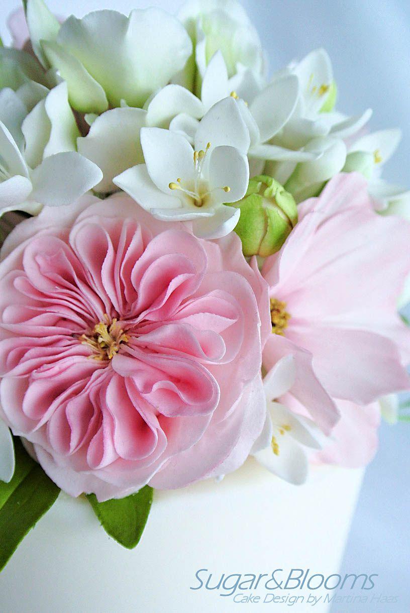 Sugar Flower Arrangement In White Pink And Green Shades Freesias
