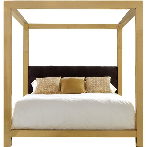 Astoria Hollywood Regency Square Brass Upholstered King Canopy Bed