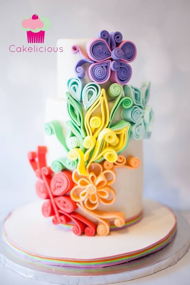 Sugar Quilling Technique- favorite technique challenge +tutorial -  CakesDecor | Interesting variation on rolled fondant cake decorating, will work just as well on cupcakes.