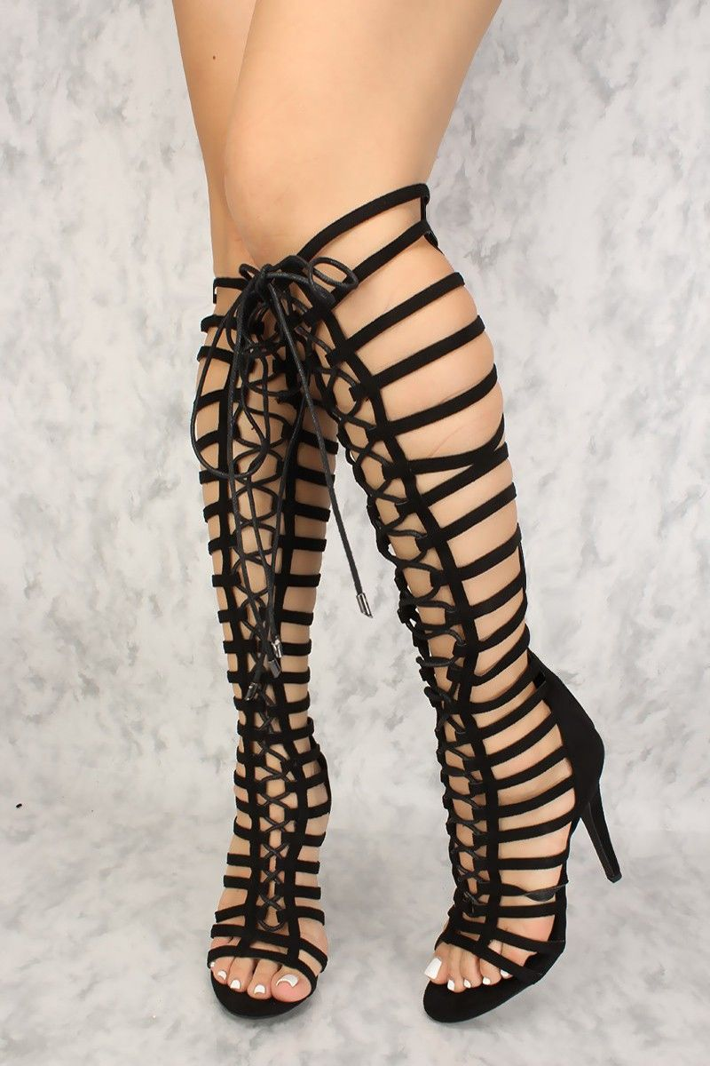 df56442b0b Buy Sexy Black Caged Lace Up Single Sole Knee High Boots with cheap price  and high