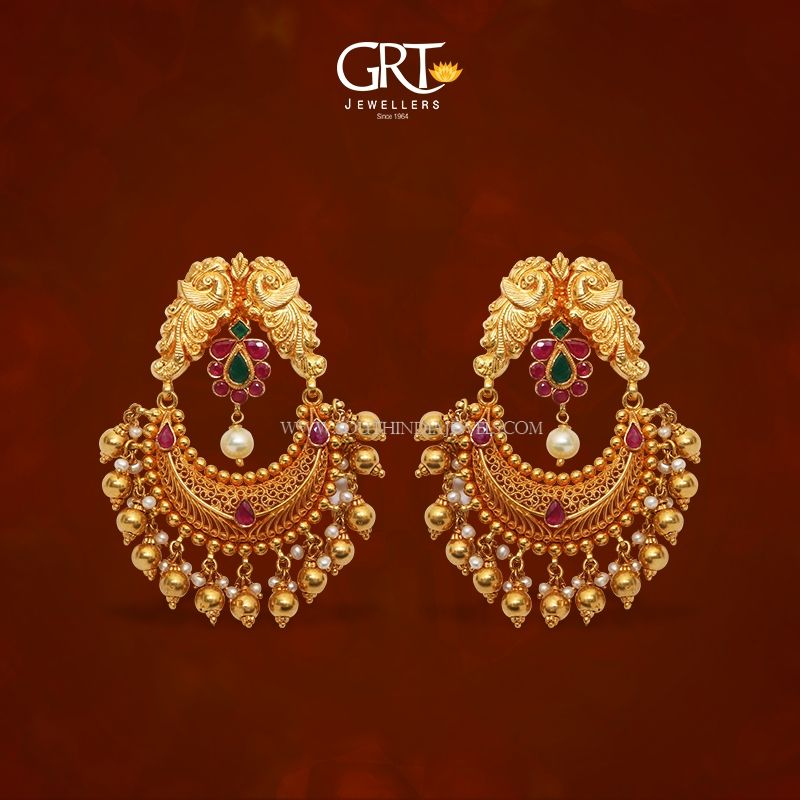 22K Gold Chandbali Earrings From GRT | Gold earrings ...
