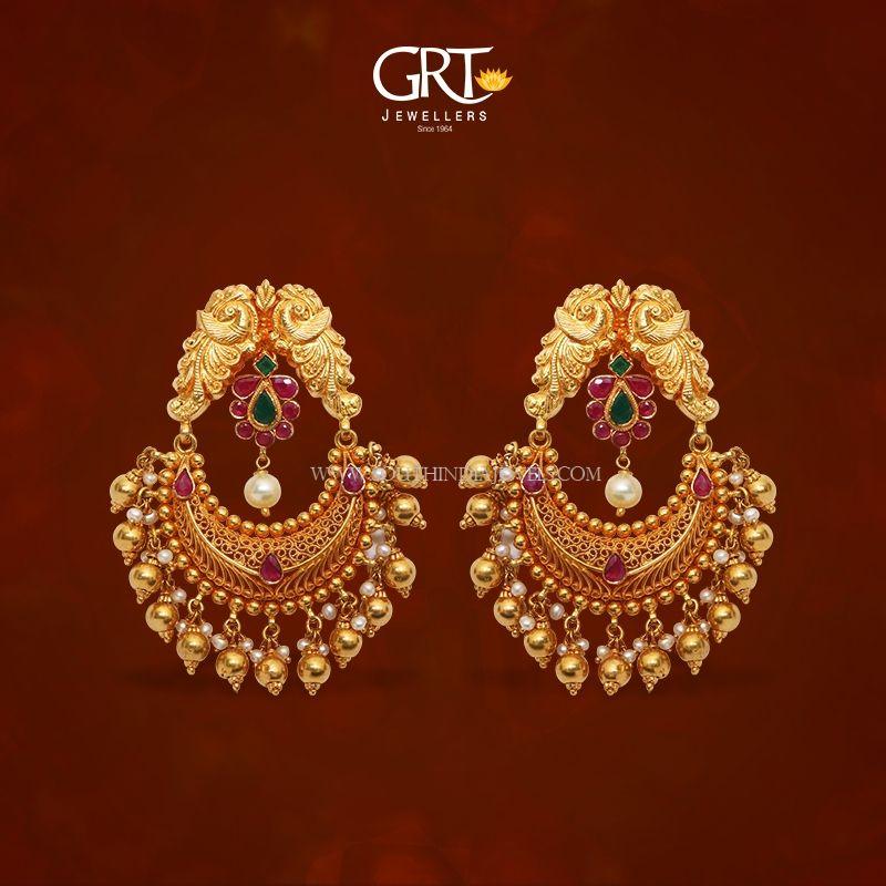 22K Gold Chandbali Earrings From GRT   Gold earrings ...