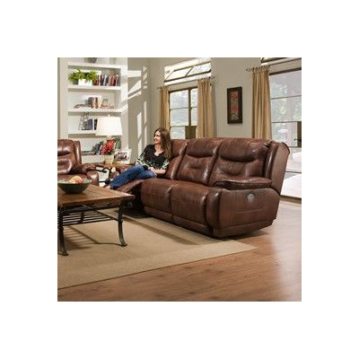 Southern Motion Crescent Reclining Leather Sofa Type Power Headrest