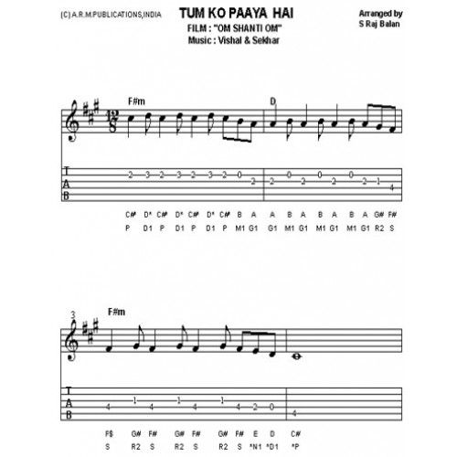tumko paaya from om shanti om SHEET MUSIC FOR KEYBOARD AND