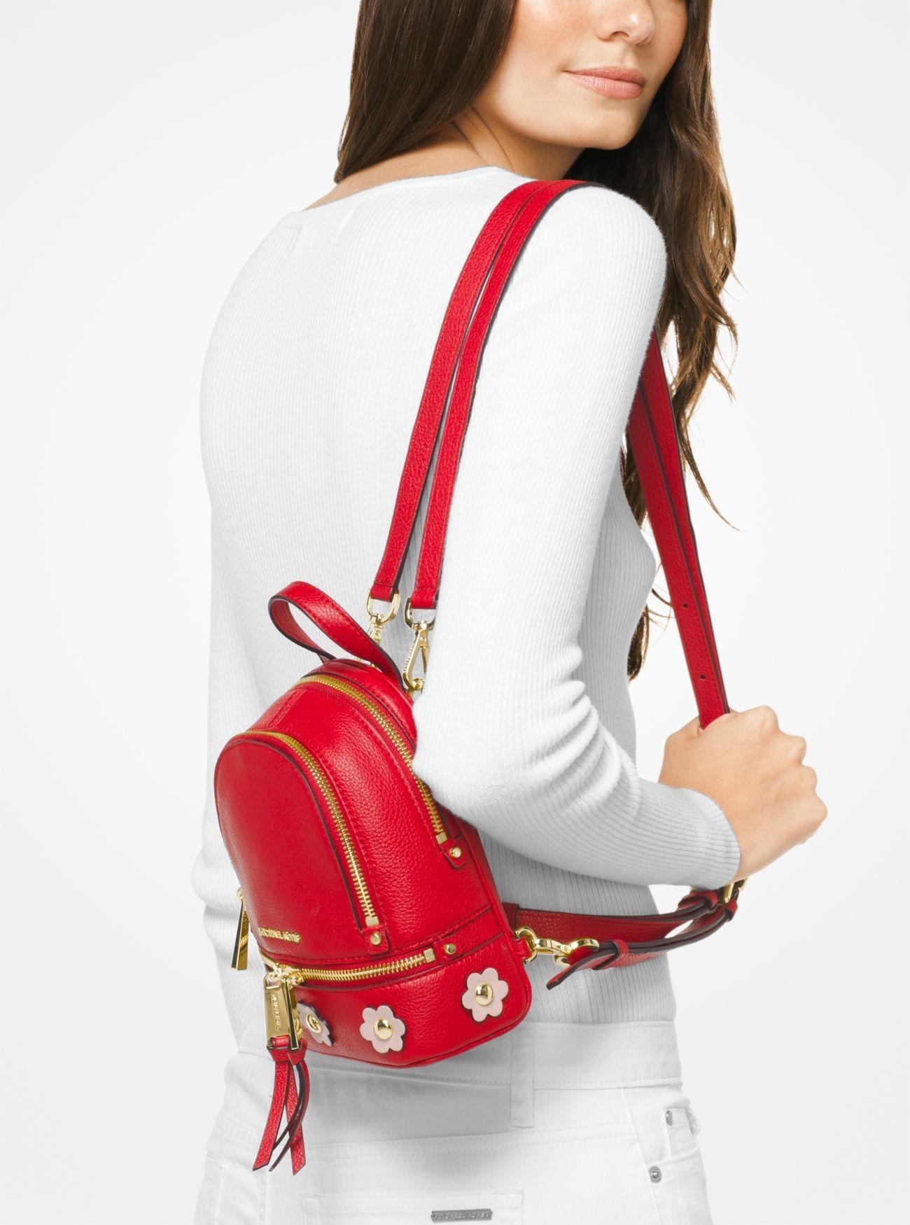 c9a83a2ddf66 Sale Michael Kors Brtred/Sfpnk Rhea Mini Floral Appliqué Leather Backpack  Cheap