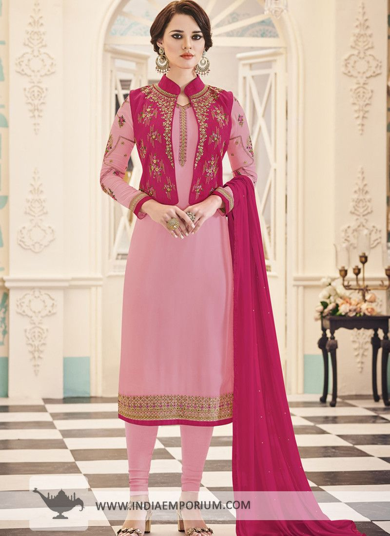 60ffc6c1ae Lovely Georgette Embroidered Jacket Style Baby Pink & Light Pink Churidar  Suit