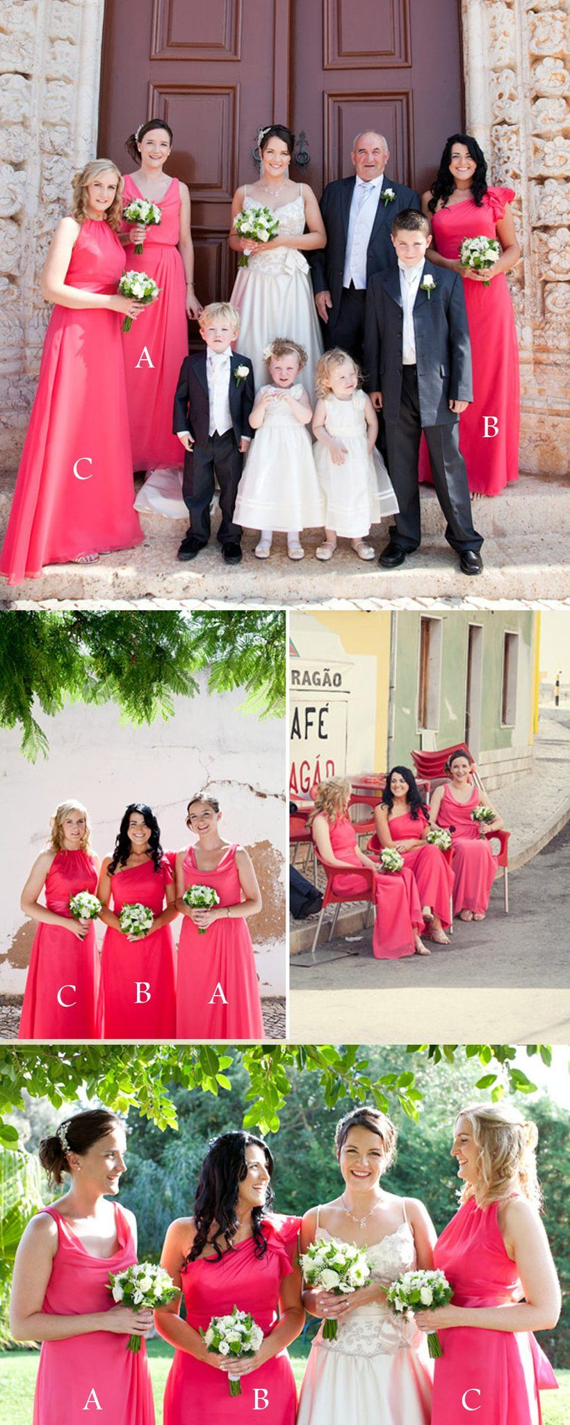 Charming mismatched hot pink sleeveless simple cheap wedding party