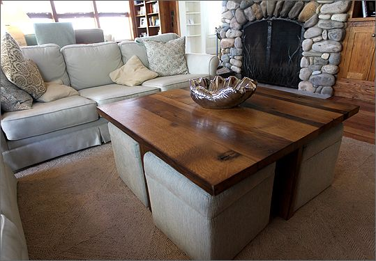 Coffee Table W Ottomans Underneath Can Be Made Using A Pallet