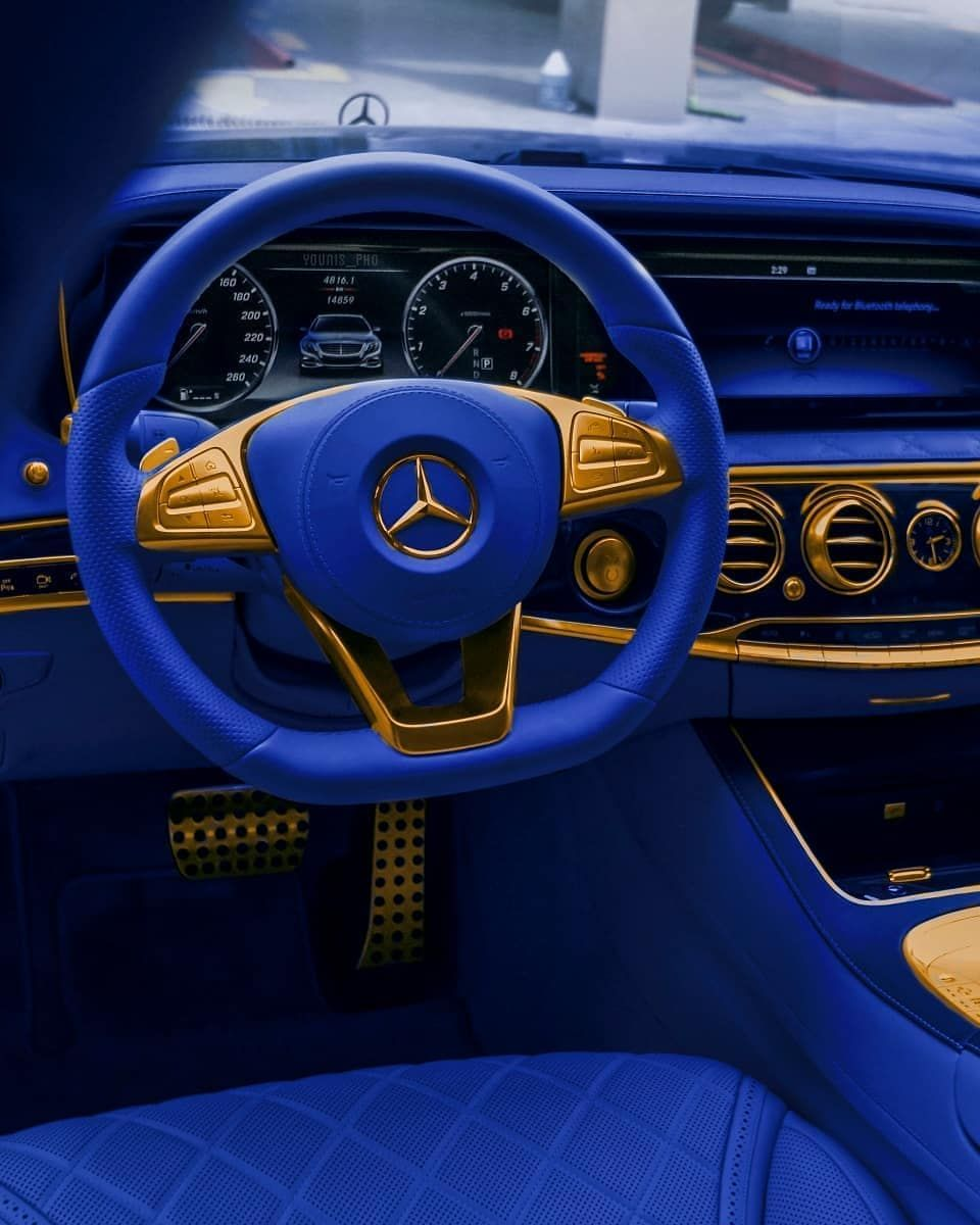 Mercedes Benz Interior >> Blue Gold Mercedesbenz Sclass C Younis Pho Luxury