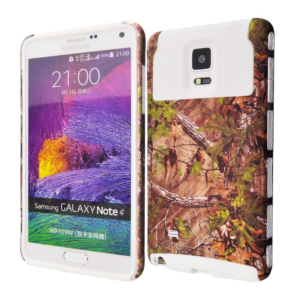 Note 4 Case KINGCOOL(TM) Tank Series Dual Layer Real Tree