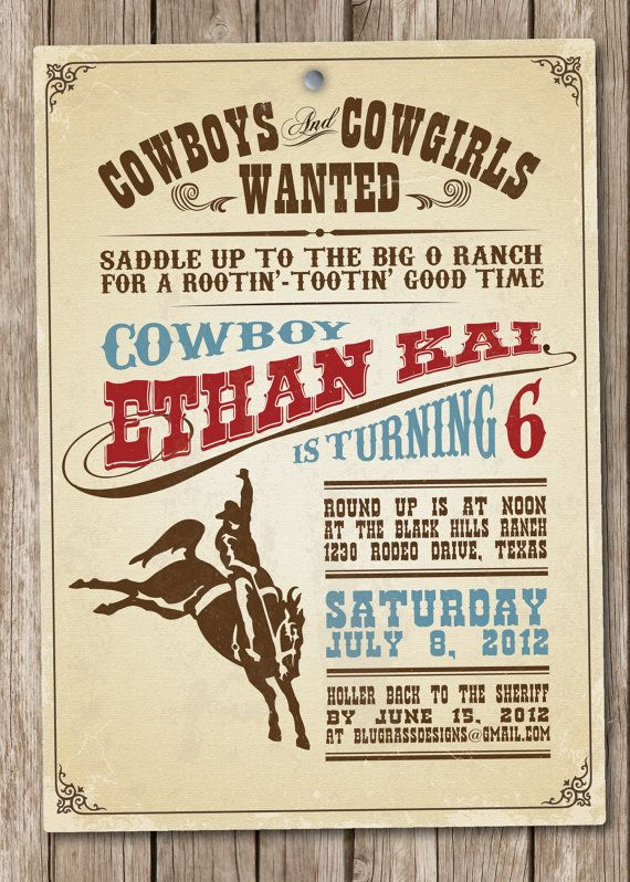 Custom Birthday Party Invitation By Mulberry Paperie Cowboy