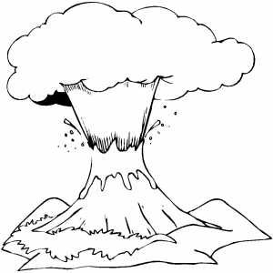 Volcano | Coloring pages, Black and white landscape ...
