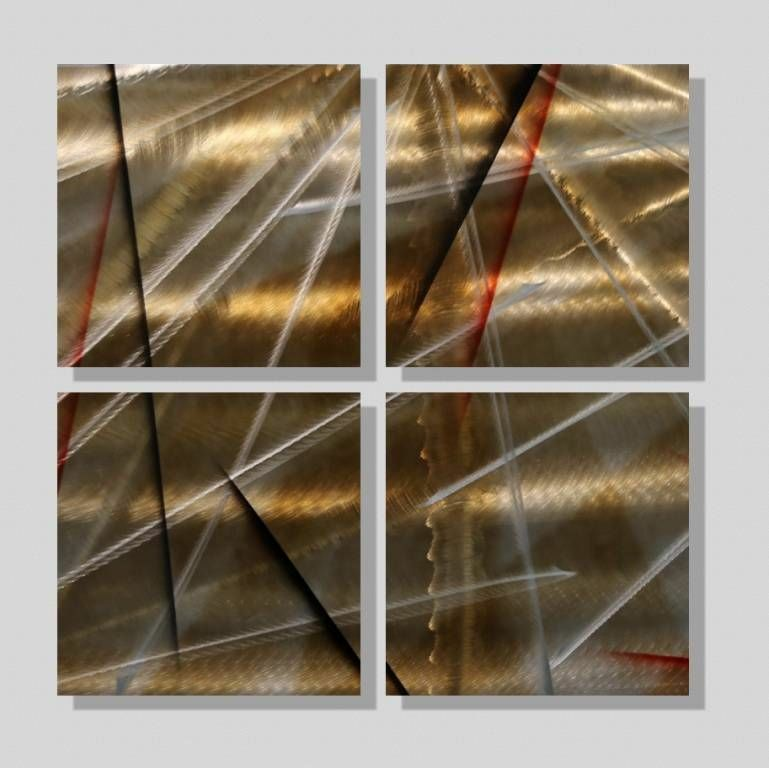Awesome Set Of 4 Modern Metal Wall Art Accent Panels Gold Black Jon Allen Modern Metal Wall Art Gold Metal Wall Art Metal Sculpture Wall Art