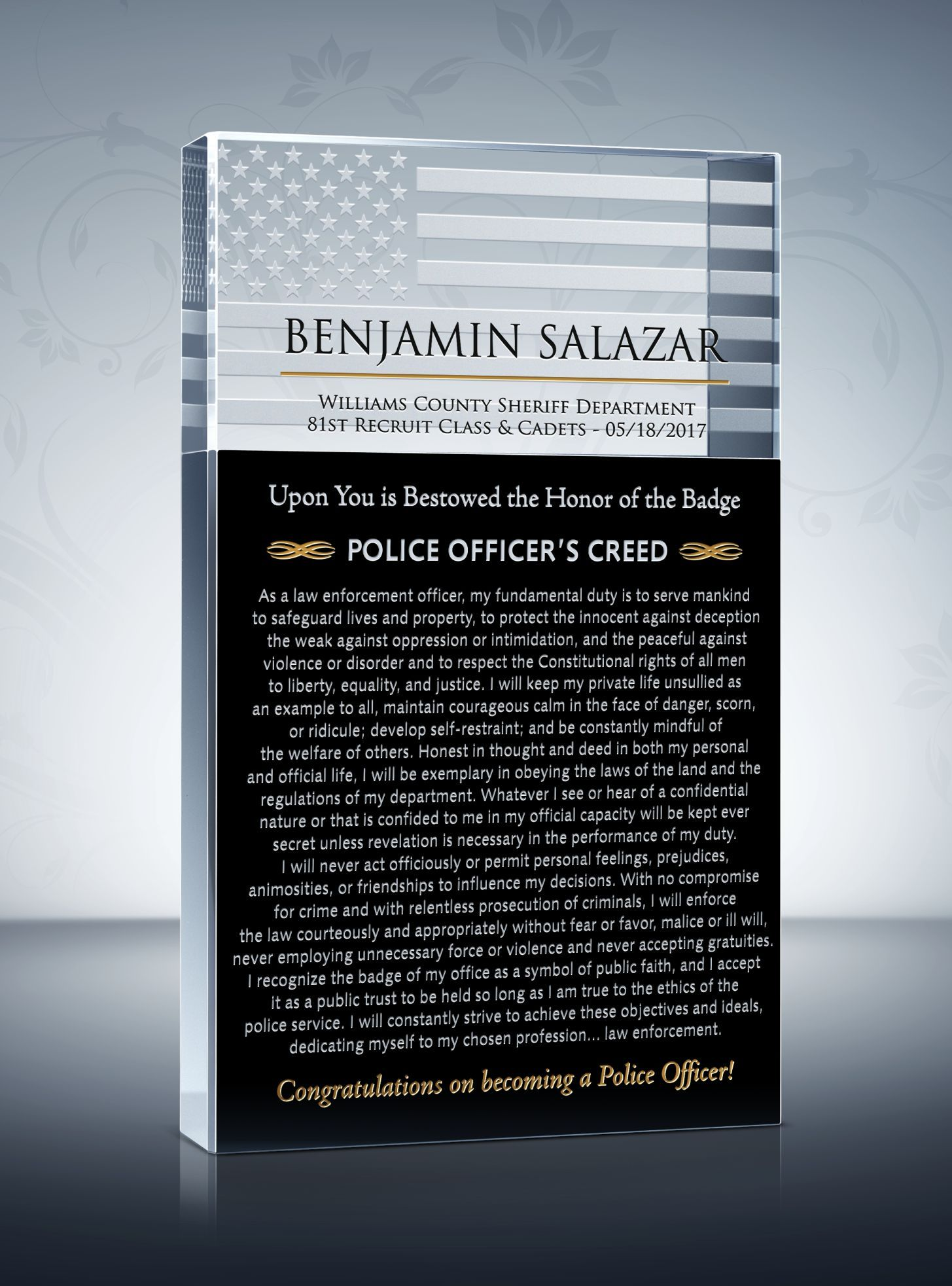 police resume template%0A Police Academy Graduation Plaque