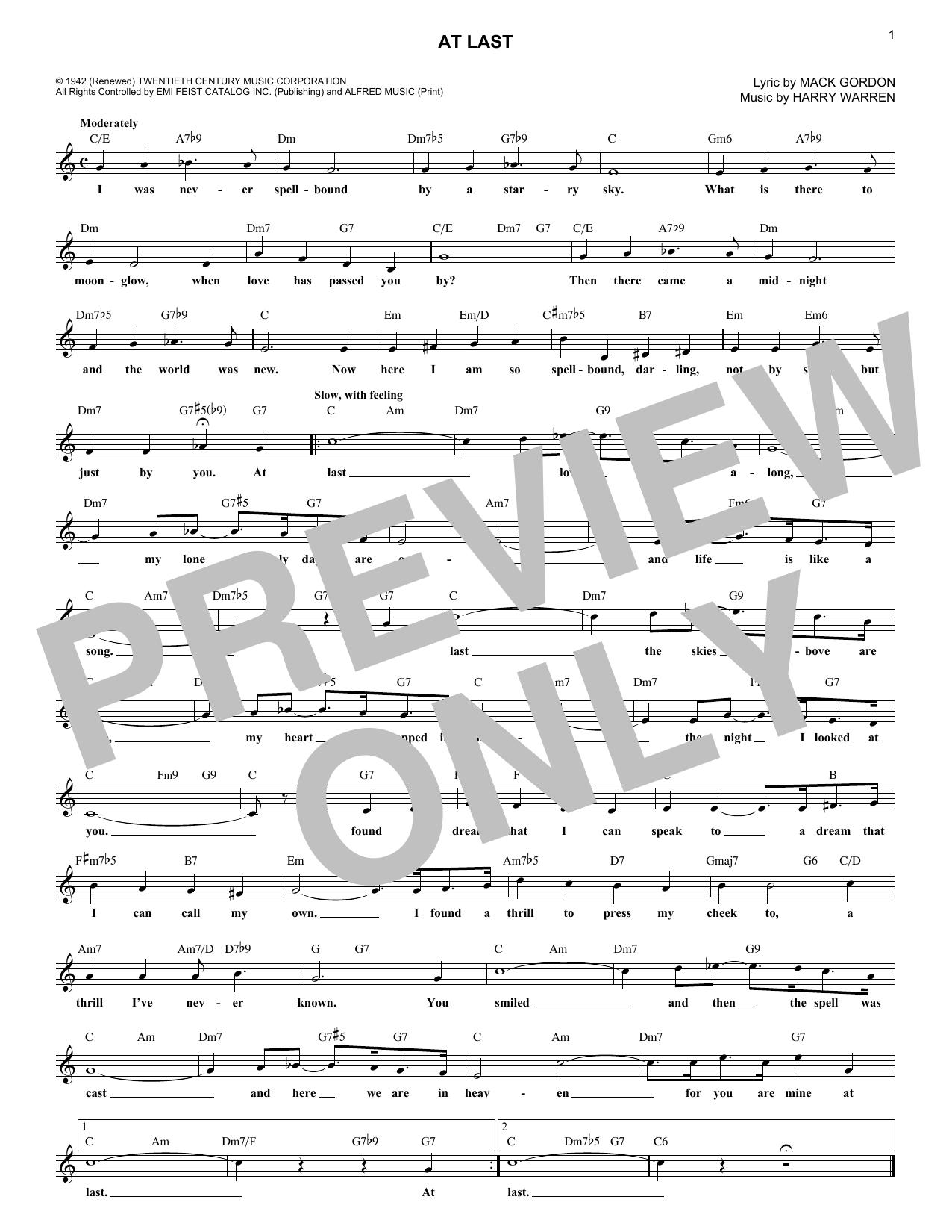 Etta James At Last 254651 Sheet Music Notes Sheet Music At Last Etta James