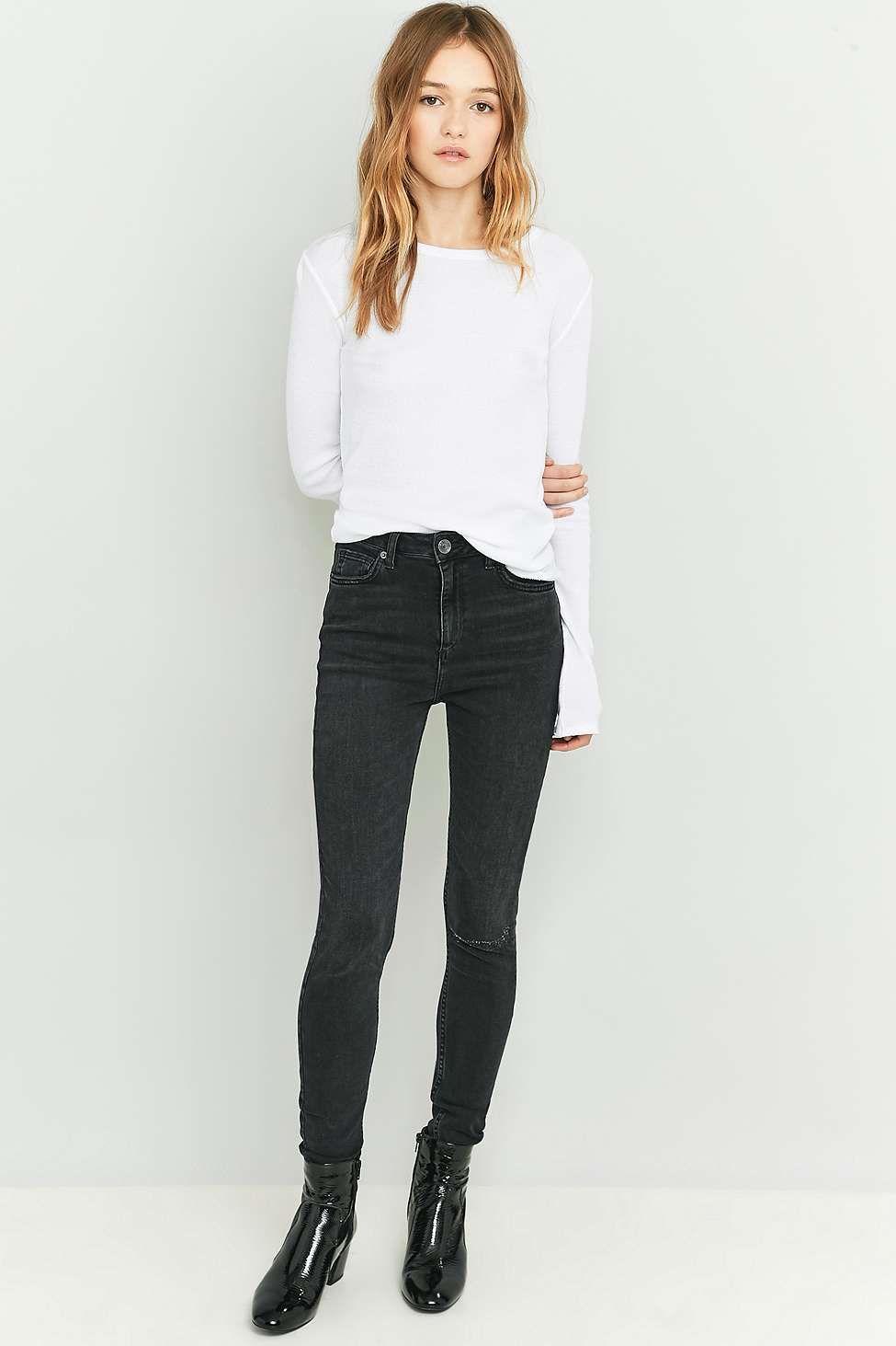 84b65adf7c7 BDG Pine High-Rise Worn Black Super Skinny Jeans