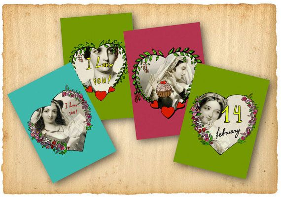 Digital greeting cards Instant Download Valentine by mashashopic