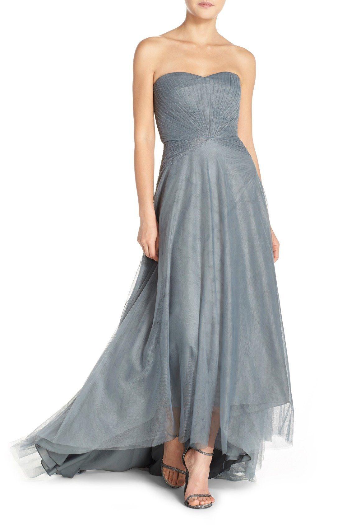 Monique Lhuillier Bridesmaids Pleat Tulle Strapless Gown available ...