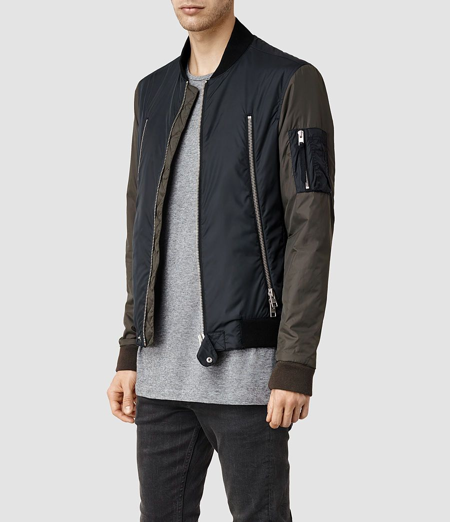 Mens Acer Bomber Jacket Ink Khaki Allsaints Com Bomber Jacket Men Bomber Jacket Mens Outfits [ 1044 x 900 Pixel ]
