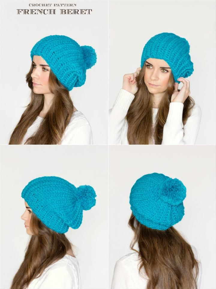 10 Free Crochet Patterns for Slouch Hat | Pinterest | Gorros