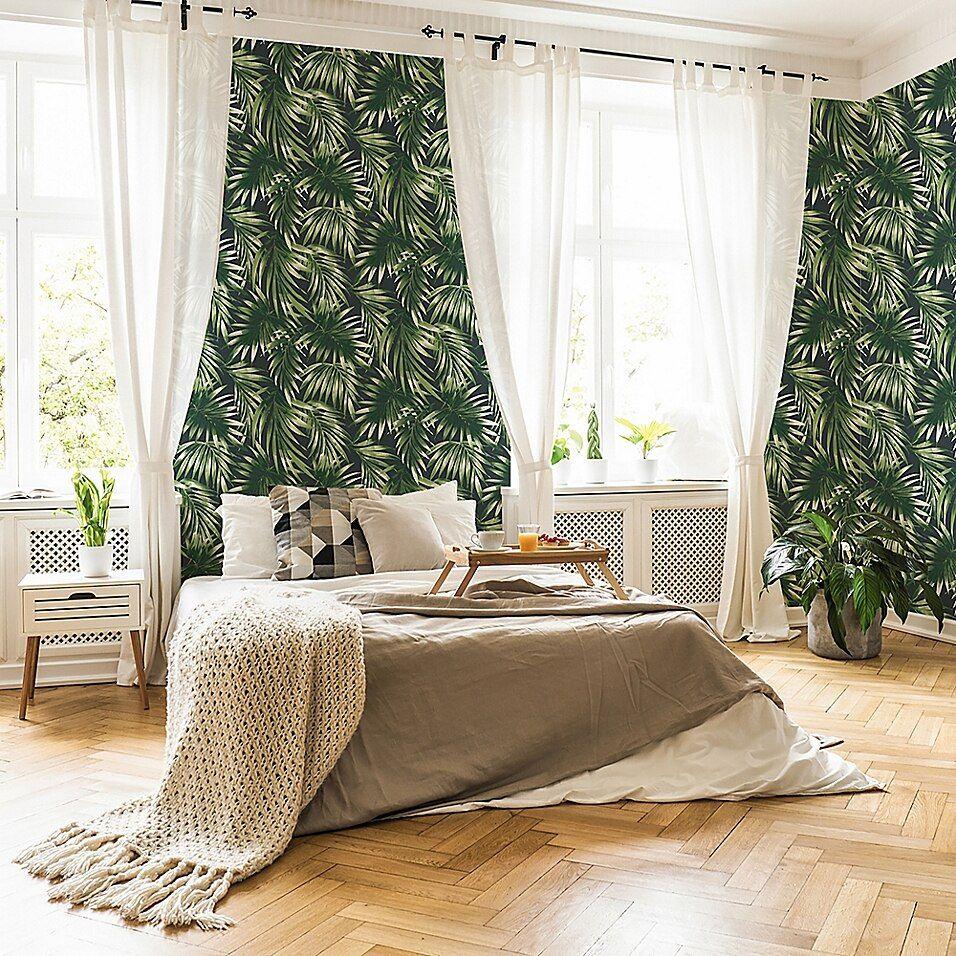 Elegant Leaves Vinyl Wallpaper In Green in 2020 Green