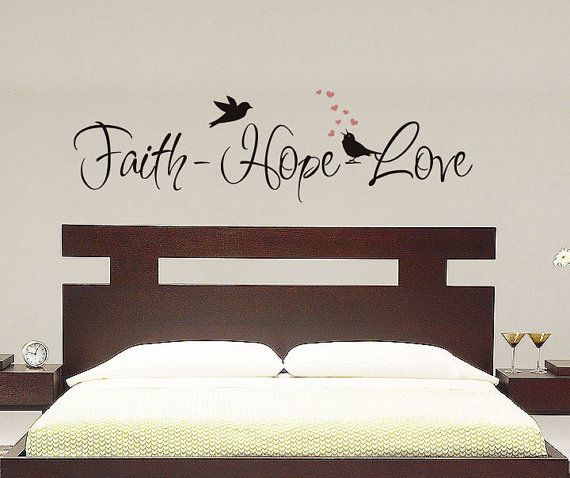 Faith   Hope   Love   Wall Decal Vinyl Decal Master Bedroom Romantic Decal  Wall Art