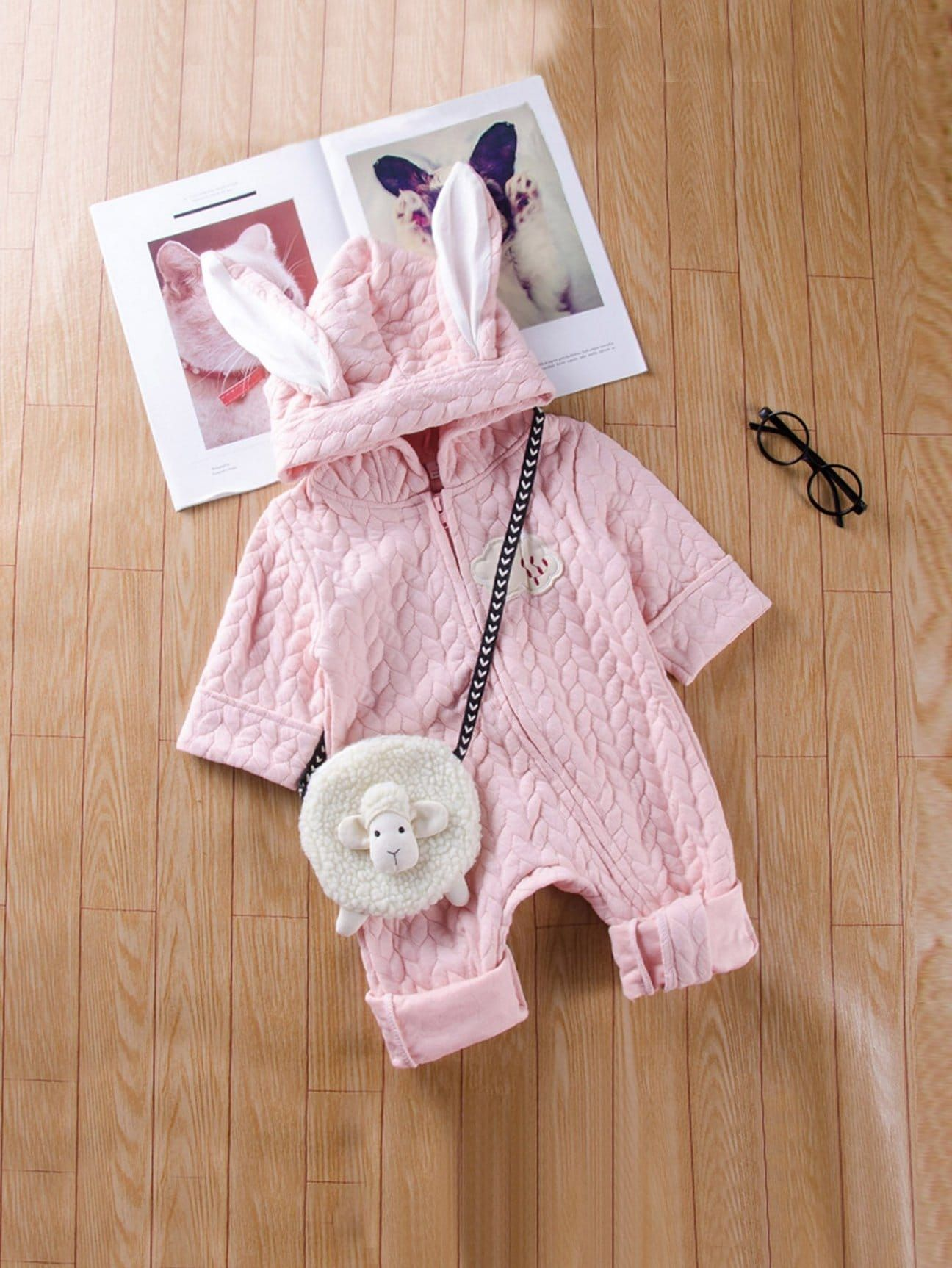 a9ee256c8e The  Softest  and  cutest  Toddler Girls Patched Detail Hooded jumpsuit! (