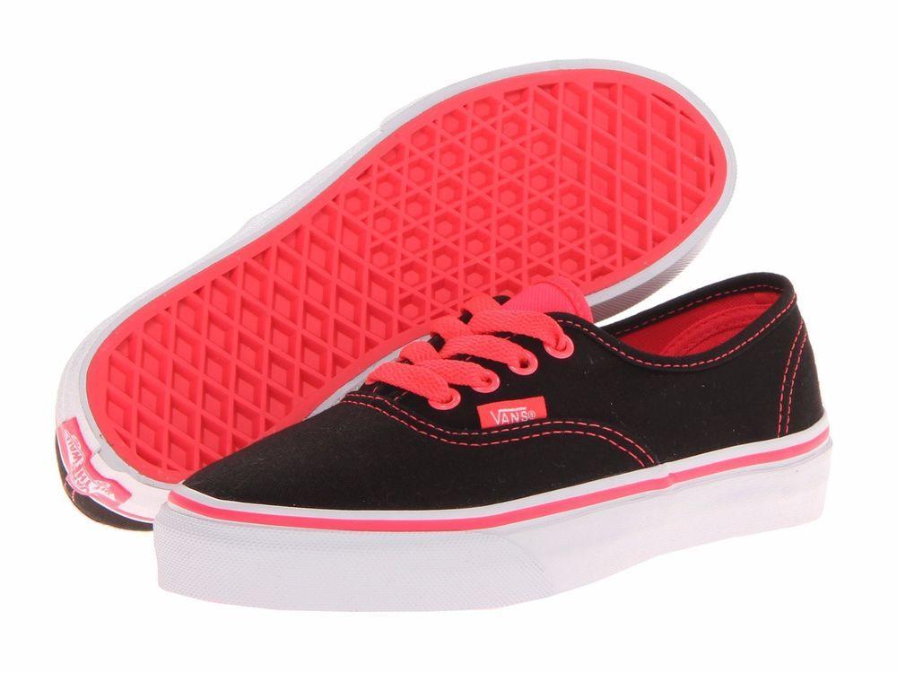 6b3e4dfeda Vans Classic Authentic Kids Size 11 Boys Girls Pop Black Neon Red  VN-0UR8BYF