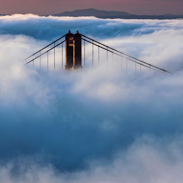 Breaking Free | The Golden Gate Bridge emerges during a foggy sunrise in the Marin Headlands