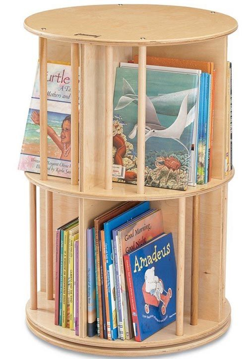 Rotating Bookcase For Kids Painted A Fun Color
