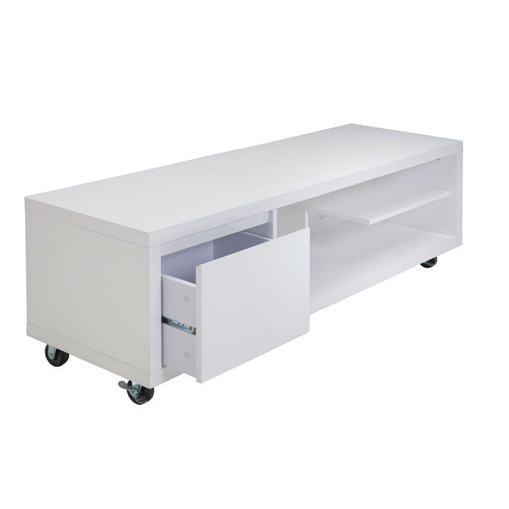 Meuble Tv A Roulettes En 2 Parties 2 Tiroirs 1 Grand Plateau En Hevea Recycle Naturel Et Metal 100x45x50cm Loft Infos Et Dimensio Furniture Desk Home Decor