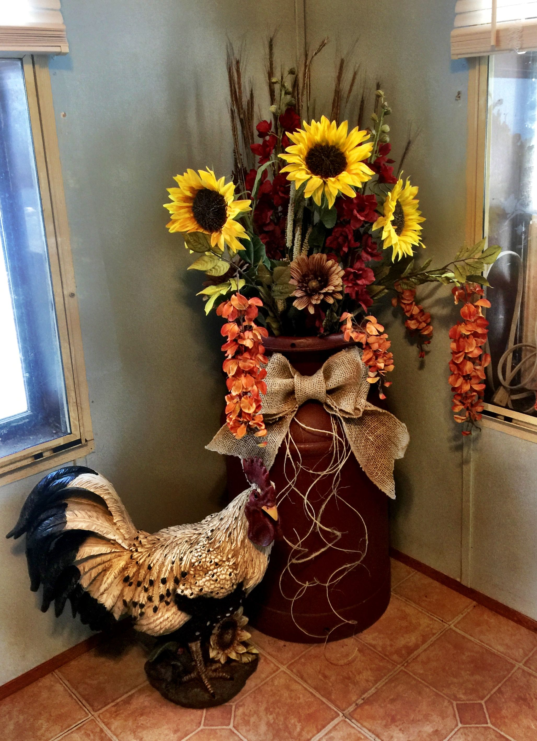 Milk Can Sunflowers Wheat Rooster Burlap Bow Rustic Country