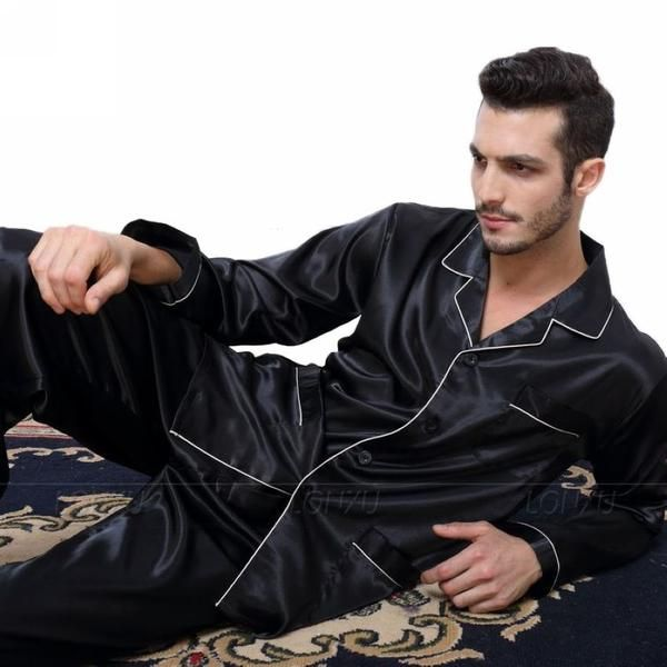 586e91ea14680 Mens Silk Satin Pajamas Pyjamas Set Sleepwear Set Loungewear U.S. S ...