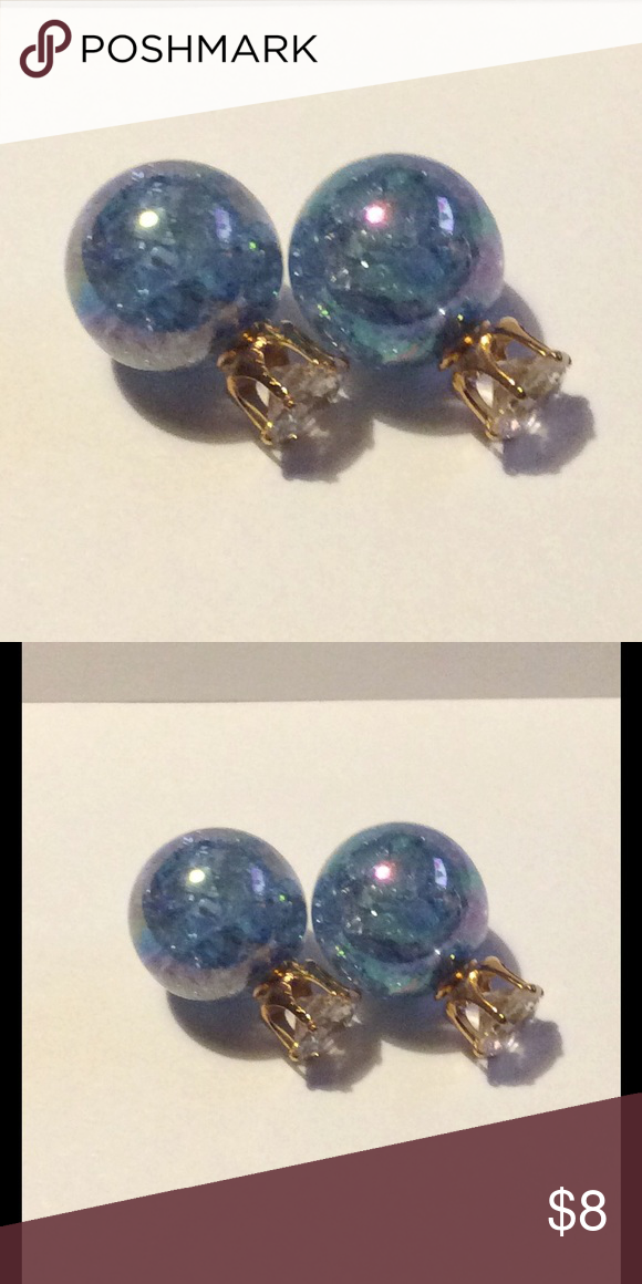 Double Sided Earrings Blue New Double Sided Earrings Blue New Jewelry Earrings
