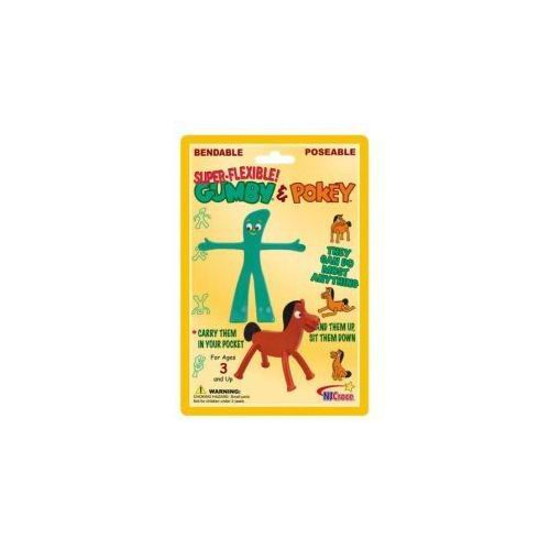 Pocket Size Retro Gumby and Pokey Bendable Figure Set