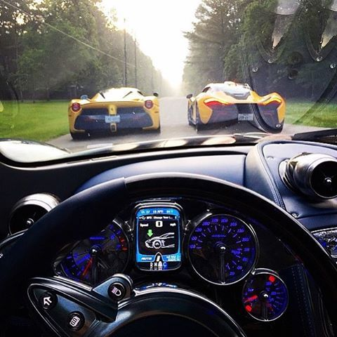 Pagani Interior \u0026 Cockpit With The Amazing View Of Ferrari LaFerrari  And McLaren P1.