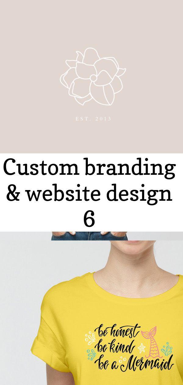 Custom branding & website design 6 Blush Pink Minimal Floral Logo for Creative Brands | Custom Website & Brand Design Free Modern Girl Wearing T-Shirt Mockup PSD