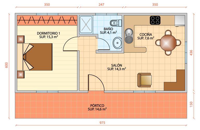 Apartamento estudio planos buscar con google small for Apartamentos pequenos planos