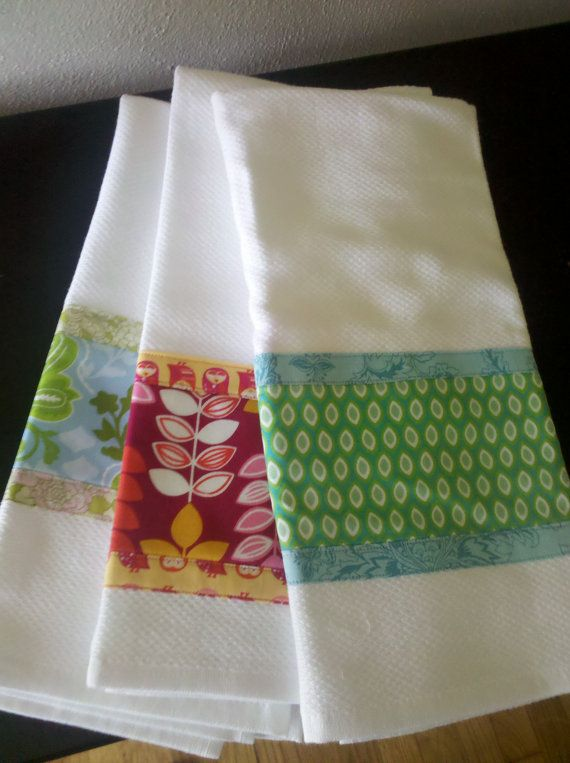 Fabric Embellished Dish Towel | Sew Projects | Dish towels