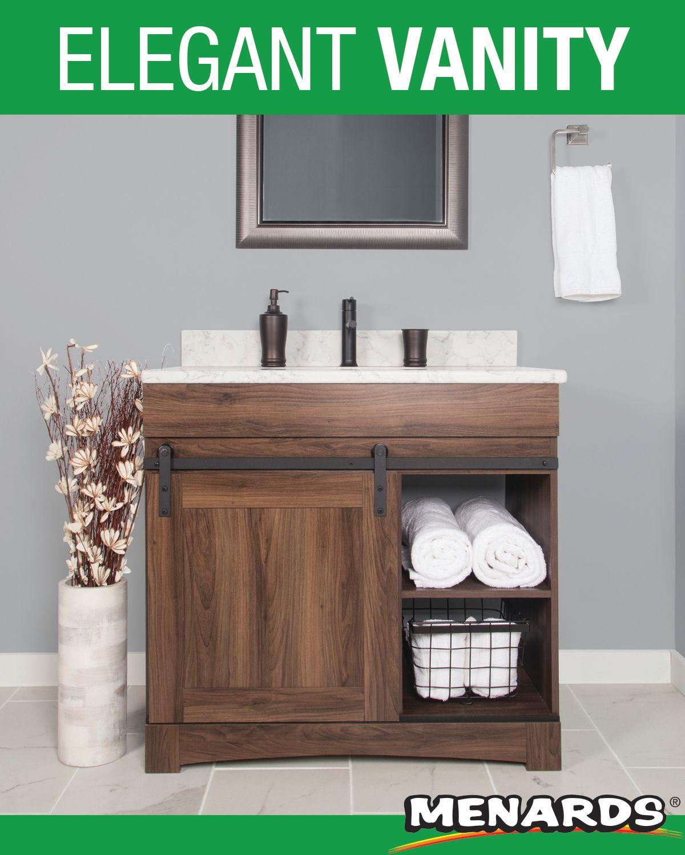 The Sliding Barn Door Vanity Cabinet Creates Elegant And Functional Bathroom Storage This Space Saving Vanity Featu Bathroom Vanity Tops Vanity Elegant Vanity