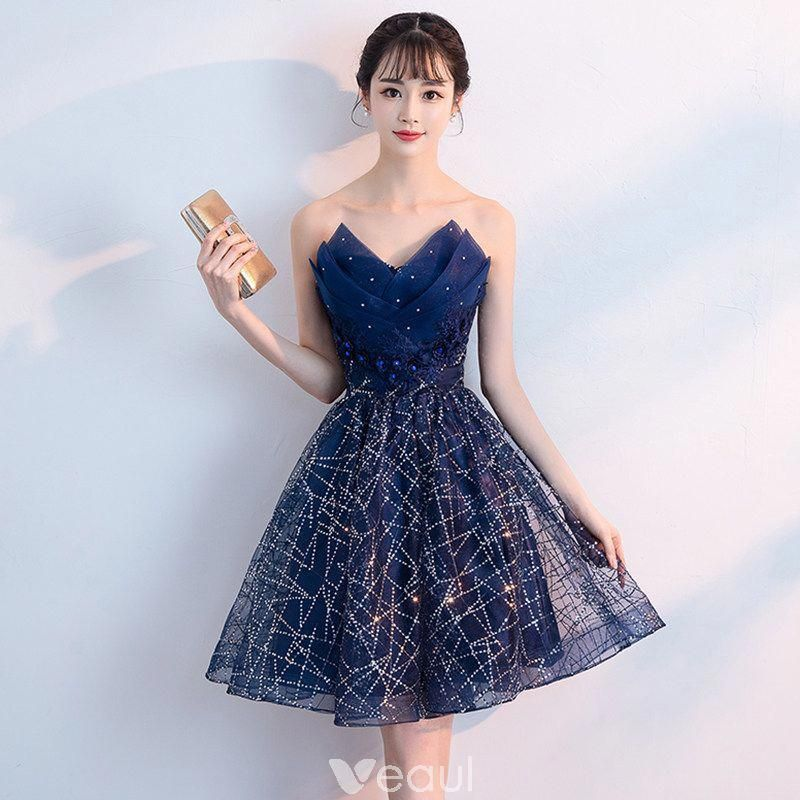 Bling Bling Navy Blue Cocktail Dresses 2018 A-Line / Princess Sweetheart Sleeveless Rhinestone Glitter Sequins Short Ruffle Backless Formal Dresses #backlesscocktaildress