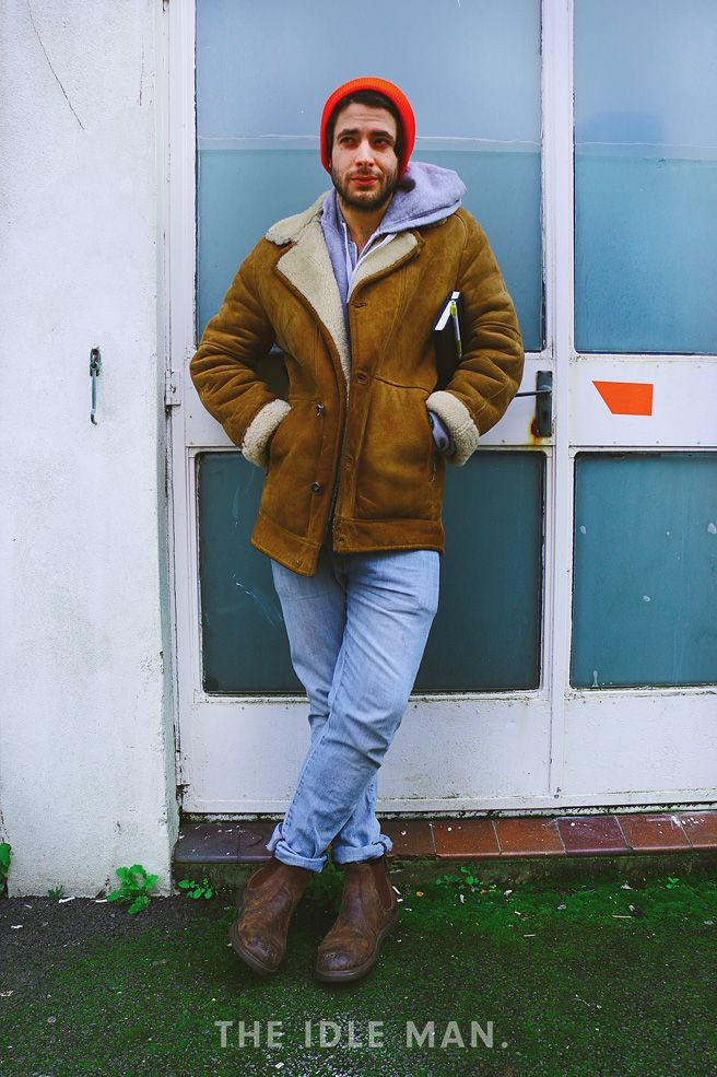 Men's street style, the Levi's Sherpa Jacket paired with light wash jeans, burgundy beanie and a smart pair of Chelsea boots | The Idle Man